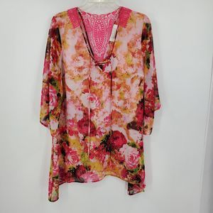 AMERICAN GLAMOUR BADGLEY MISCHKA floral sheer top